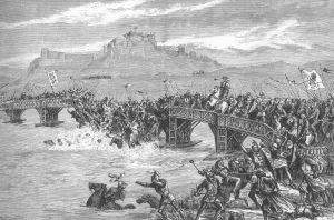 The Old Stirling wooden Bridge in the 1200s, depicted in the Battle.